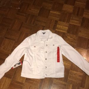 Fall stretchy white jean jacket